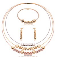 Fashion Zinc Alloy Jewelry Sets, bracelet & earring & necklace, with Tiger Tail Wire, stainless steel post pin, plated, lead & cadmium free, 10x50mm, 8x40mm, 40x95mm, Length:Approx 8 Inch, Approx  16.5 Inch, Sold By Set