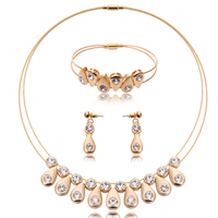 Rhinestone Zinc Alloy Jewelry Set, bracelet & earring & necklace, with Tiger Tail Wire, stainless steel post pin, Teardrop, gold color plated, with rhinestone, lead & cadmium free, 10x35mm, 50mm, 20x100mm, Length:Approx 8 Inch, Approx  16.5 Inch, Sold By Set