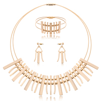 Fashion Zinc Alloy Jewelry Sets, bracelet & earring & necklace, with Tiger Tail Wire, stainless steel post pin, gold color plated, lead & cadmium free, 25x45mm, 45x27mm, 135mm, Length:Approx 8 Inch, Approx  16.5 Inch, Sold By Set