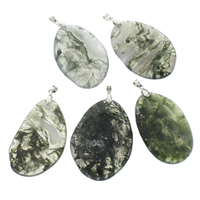 Moss Agate Pendants, with iron bail, Flat Oval, platinum color plated, 36x59x6mm-45x65x7mm, Hole:Approx 4x5mm, Sold By PC