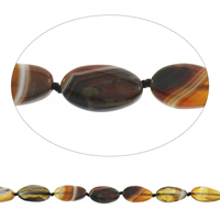 Natural Lace Agate Beads, Flat Oval, coffee color, 16x29x5mm-17x31x6mm, Hole:Approx 2mm, Length:Approx 15 Inch, Approx 12PCs/Strand, Sold By Strand