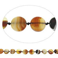 Natural Lace Agate Beads, Flat Round, coffee color, 20x5mm-22x6mm, Hole:Approx 2mm, Length:Approx 15.5 Inch, Approx 16PCs/Strand, Sold By Strand