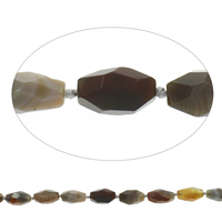 Natural Lace Agate Beads, Oval, faceted, coffee color, 14x22mm-16x25mm, Hole:Approx 2mm, Length:Approx 15.5 Inch, Approx 15PCs/Strand, Sold By Strand