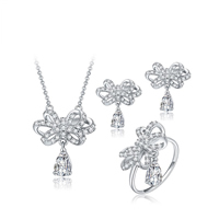 Newegg® Jewelry Set, Brass, finger ring & earring & necklace, with 1.6 lnch extender chain, Bowknot, platinum plated, oval chain & micro pave cubic zirconia, 20x19mm, 19x20mm, 24x25mm, US Ring Size:8, Length:Approx 16 Inch, Sold By Set