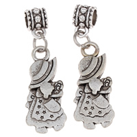 Zinc Alloy European Pendants, Girl, antique silver color plated, without troll, lead & cadmium free, 12x39x7mm, Hole:Approx 5mm, 20PCs/Bag, Sold By Bag