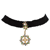 Zinc Alloy Choker Necklace, with Lace & Resin, with 2.95inch extender chain, Sun, gold color plated, with rhinestone, 55mm, Length:Approx 11.81 Inch, Sold By Strand
