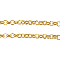 Brass Rolo Chain, plated, more colors for choice, 2x0.7x0.4mm, Sold By m