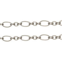 Brass Figaro Chain, plated, more colors for choice, 3x2.6x0.3mm, 6.4x3.4x0.4mm, Sold By m