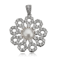 Cultured Pearl Sterling Silver Pendants, 925 Sterling Silver, with Freshwater Pearl, Flower, plated, natural & micro pave cubic zirconia, more colors for choice, 21x22.5x5.5mm, Hole:Approx 3.5x4mm, Sold By PC