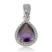 Cubic Zirconia Sterling Silver Pendants, 925 Sterling Silver, Teardrop, plated, with cubic zirconia, more colors for choice, 10x15x6mm, Hole:Approx 3x4.5mm, Sold By PC