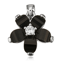Cubic Zirconia Sterling Silver Pendants, 925 Sterling Silver, with Resin, Flower, plated, with cubic zirconia, more colors for choice, 18x18x6mm, Hole:Approx 3.5x4mm, Sold By PC
