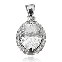 Cubic Zirconia Sterling Silver Pendants, 925 Sterling Silver, Flat Oval, plated, with cubic zirconia, more colors for choice, 11x16x5.54mm, Hole:Approx 3.5x4.5mm, Sold By PC