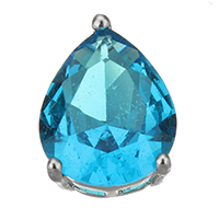 Cubic Zirconia Sterling Silver Pendants, 925 Sterling Silver, Teardrop, plated, with cubic zirconia, more colors for choice, 10x13x7mm, Hole:Approx 4x2mm, Sold By PC