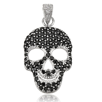 Cubic Zirconia Sterling Silver Pendants, 925 Sterling Silver, Skull, plated, with cubic zirconia, more colors for choice, 15.5x26.5x5mm, Hole:Approx 3x4mm, Sold By PC