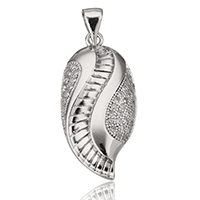 Cubic Zirconia Sterling Silver Pendants, 925 Sterling Silver, Leaf, plated, with cubic zirconia, more colors for choice, 12x26x4mm, Hole:Approx 3.5x5mm, Sold By PC