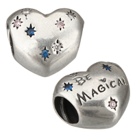 Troll Thailand Sterling Silver European Beads, Heart, micro pave cubic zirconia & with troll, 11x10x8mm, Hole:Approx 4mm, Sold By PC