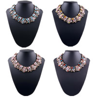 Fashion Statement Necklace, Zinc Alloy, with Crystal & Resin, with 2.7lnch extender chain, rose gold color plated, faceted & with rhinestone, more colors for choice, Length:Approx 15.7 Inch, Sold By Strand