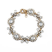 Statement Bracelet, Zinc Alloy, with Crystal, antique gold color plated, faceted, 16mm, Length:Approx 8.6 Inch, Sold By Strand