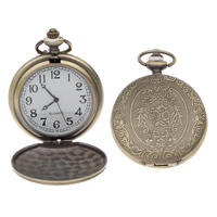 Pocket Watch Head, Zinc Alloy, with Glass, Chinese movement, Flat Round, antique bronze color plated, lead & cadmium free, 47x59x14mm, Hole:Approx 16x3mm, Sold By PC