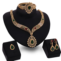 Rhinestone Zinc Alloy Jewelry Set, bangle & finger ring & earring & necklace, with Resin, stainless steel earring post and Omega clip, Teardrop, gold color plated, faceted & with rhinestone, lead & cadmium free, 21x17mm, 40x17mm, Inner Diameter:Approx 65mm, Length:Approx 6.5 Inch, Approx  19.5 Inch, Sold By Set