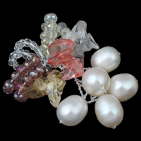 Freshwater Pearl Pendants, with Crystal & Quartz, handmade, natural & faceted, 7-8mm, 30x40x10mm, Hole:Approx 5mm, Sold By PC