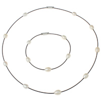 Natural Freshwater Pearl Jewelry Sets, bracelet & necklace, with Tiger Tail Wire, brass magnetic clasp, painted, 6-7mm, Length:Approx 16.5 Inch, Approx 7 Inch, Sold By Set