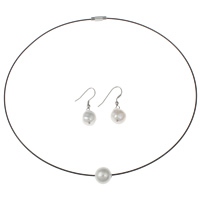 Brass Freshwater Pearl Jewelry Sets, earring & necklace, with Brass & Tiger Tail Wire, platinum color plated, natural & with painted, 11-12mm, 18x36x12mm, Length:Approx 16.5 Inch, Sold By Set