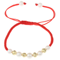 Freshwater Pearl Woven Ball Bracelets, with Nylon Cord & Brass, gold color plated, natural & flower cut & adjustable, 5-6mm, Length:Approx 5.5 Inch, Sold By Strand