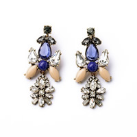 Fashion Statement Earring, Zinc Alloy, with rubber earnut & Crystal & Resin, brass post pin, antique bronze color plated, faceted & with rhinestone, 30x70mm, Sold By Pair