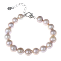 Cultured Freshwater Pearl Bracelets, brass lobster clasp, with 4cm extender chain, Round, natural, purple, 8-9mm, Length:Approx 7 Inch, Sold By Strand