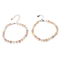 Cultured Freshwater Pearl Bracelets, brass lobster clasp, with 3cm extender chain, Button, plated, natural, more colors for choice, 7-8mm, Length:Approx 7 Inch, Sold By Strand