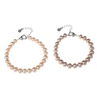 Cultured Freshwater Pearl Bracelets, brass lobster clasp, with 4cm extender chain, Button, natural, more colors for choice, 8-9mm, Length:Approx 6.5 Inch, Sold By Strand
