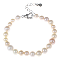 Cultured Freshwater Pearl Bracelets, brass lobster clasp, with 4cm extender chain, Potato, natural, pink, 6-8mm, Length:Approx 7 Inch, Sold By Strand