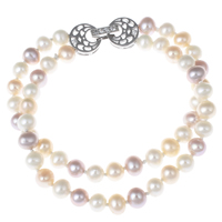Cultured Freshwater Pearl Bracelets, brass foldover clasp, Potato, natural, micro pave cubic zirconia & 2-strand, multi-colored, 5-6mm, Length:Approx 6 Inch, Sold By Strand