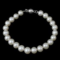 Cultured Freshwater Pearl Bracelets, brass bayonet clasp, Potato, natural, white, 6-7mm, Length:Approx 6 Inch, Sold By Strand