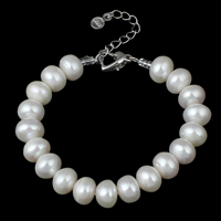 Cultured Freshwater Pearl Bracelets, brass lobster clasp, with 4cm extender chain, Button, natural, white, 9-10mm, Length:Approx 7 Inch, Sold By Strand