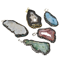 Natural Agate Druzy Pendant, Ice Quartz Agate, with Rhinestone Clay Pave & Abalone Shell & Brass, plated, druzy style & mixed, 24-32x50-65x6.5-8mm, Hole:Approx 5x7mm, Sold By PC