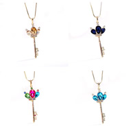 Zinc Alloy Sweater Chain Necklace, with iron chain & Crystal, with 5cm extender chain, Key, 18K gold plated, snake chain & faceted & with rhinestone, more colors for choice, lead & cadmium free, 20x50mm, Length:Approx 29 Inch, Sold By Strand