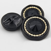 Acrylic Shank Button, Flat Round, gold color plated, different size for choice, black, Sold By PC