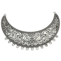 Fashion Necklace Bottom, Zinc Alloy, Moon, antique silver color plated, with loop, lead & cadmium free, 110x75x3mm, Hole:Approx 2mm, Sold By PC