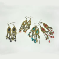 Resin Zinc Alloy Earring, with Wood & Resin, stainless steel earring hook, antique bronze color plated, enamel, more colors for choice, 75mm, Sold By Pair