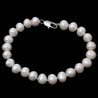 Cultured Freshwater Pearl Bracelets, brass lobster clasp, Potato, natural, white, 8-9mm, Length:Approx 7.5 Inch, Sold By Strand