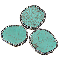 Dyed Natural Turquoise Beads, Natural White Turquoise, with Rhinestone Clay Pave, blue, 34-39x41-43x5-6mm, Hole:Approx 2mm, Sold By PC