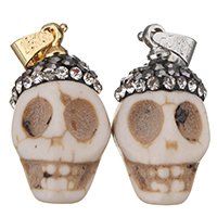 Natural White Turquoise Pendant, with brass bail & Rhinestone Clay Pave, Skull, plated, more colors for choice, 11x20x12mm, Hole:Approx 3x5mm, Sold By PC