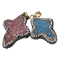 Natural Agate Druzy Pendant, Ice Quartz Agate, with brass bail & Rhinestone Clay Pave, Cross, gold color plated, druzy style, mixed colors, 24-26x32-37x8-10mm, Hole:Approx 4x8mm, Sold By PC
