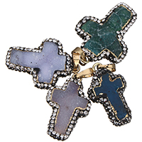 Natural Agate Druzy Pendant, Ice Quartz Agate, with brass bail & Rhinestone Clay Pave, Cross, gold color plated, druzy style, mixed colors, 19-28x30-37x6-9mm, Hole:Approx 4x8mm, Sold By PC
