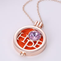 Perfume Locket Necklace, Zinc Alloy, with Cotton & Crystal, with 2lnch extender chain, Flat Round, word hope, rose gold color plated, oval chain & faceted, 35mm, Length:Approx 23 Inch, Sold By Strand