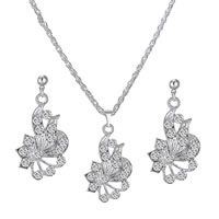 Rhinestone Zinc Alloy Jewelry Set, earring & necklace, Flower, platinum color plated, rope chain & with rhinestone, 21x23mm, Length:Approx 16.5 Inch, Sold By Set
