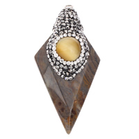 Indian Agate Pendants, with iron bail & Rhinestone Clay Pave & Cats Eye, natural, 27x52x13mm, Hole:Approx 2mm, Sold By PC