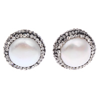 White Shell Earrings, with Rhinestone Clay Pave, stainless steel post pin, Flat Round, natural, 16x10mm, Sold By Pair